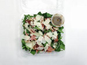 salad, arugula, prosciutto, balsalmic